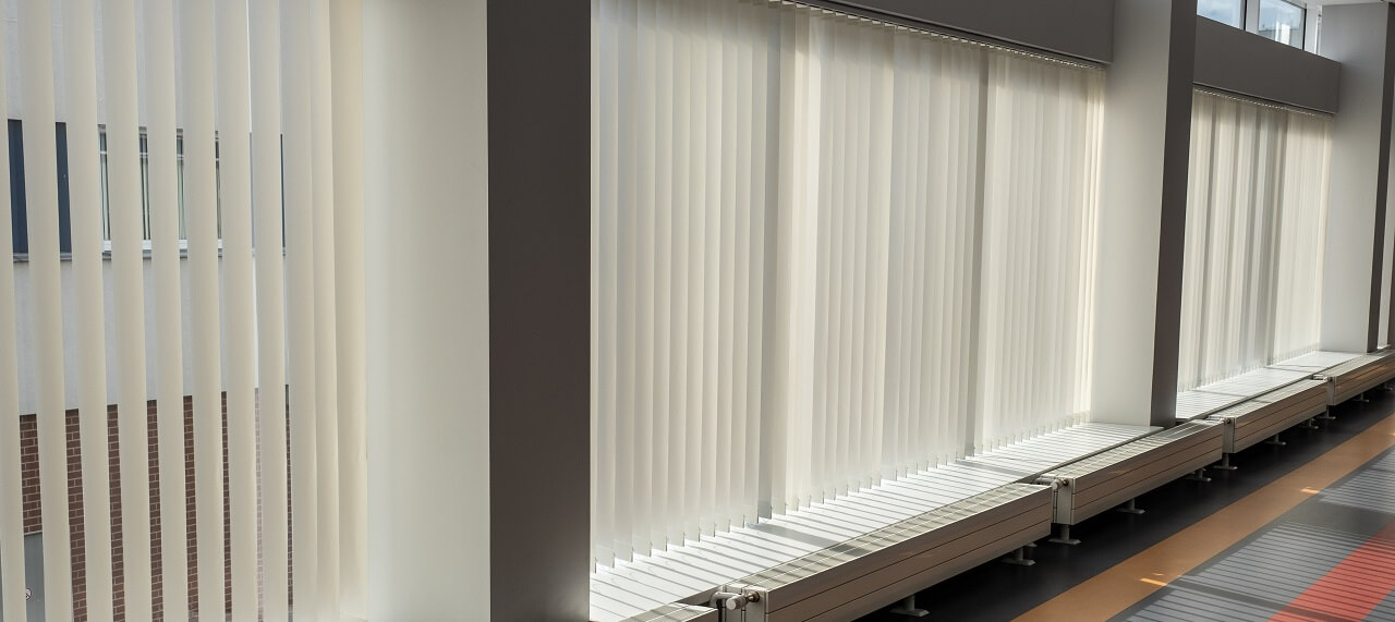 vertical blinds in an office conference room