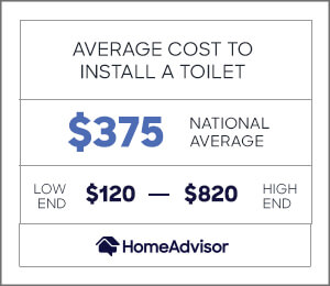 the average cost to install a toilet is $375 or $120 to $820
