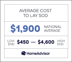 the average cost to lay sod is $1,900 or $450 to $4,600.