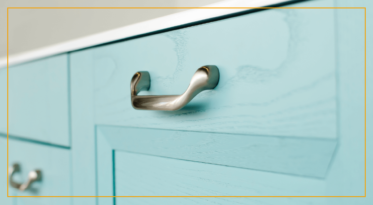 Powder blue drawer with handle