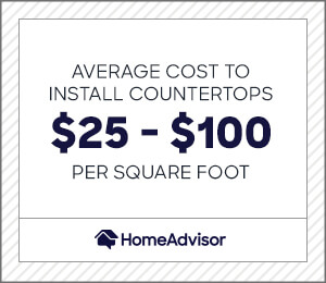 the average cost to install countertops is $25 to $100 per square foot.