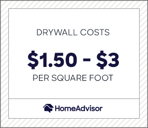 drywalling costs $1.50 to $3 per square foot