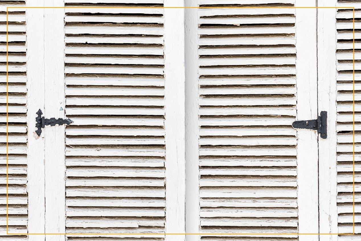 closeup of old window shutters