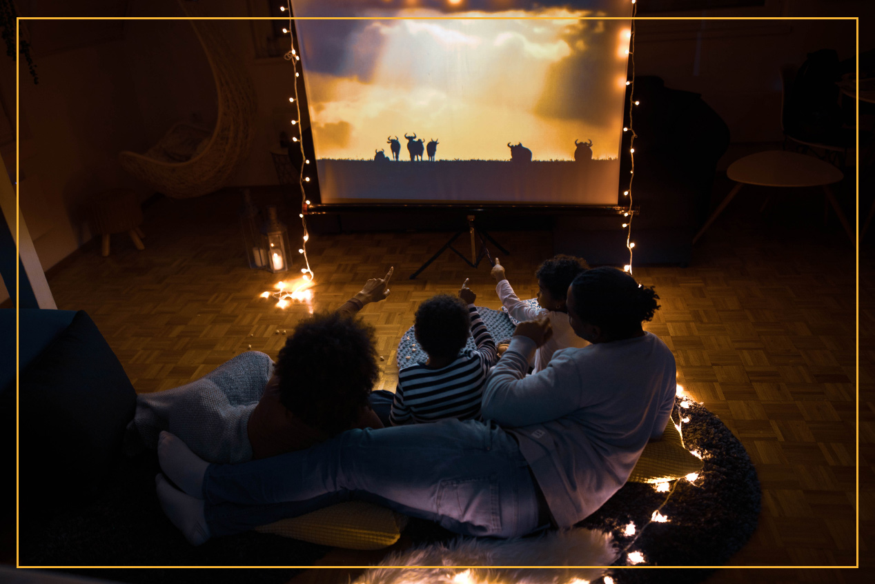 family watching home movie
