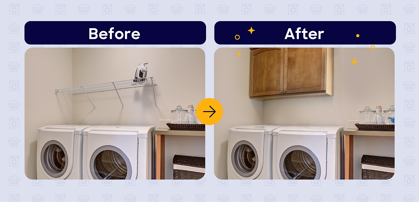 laundry room installing cabinets before and after