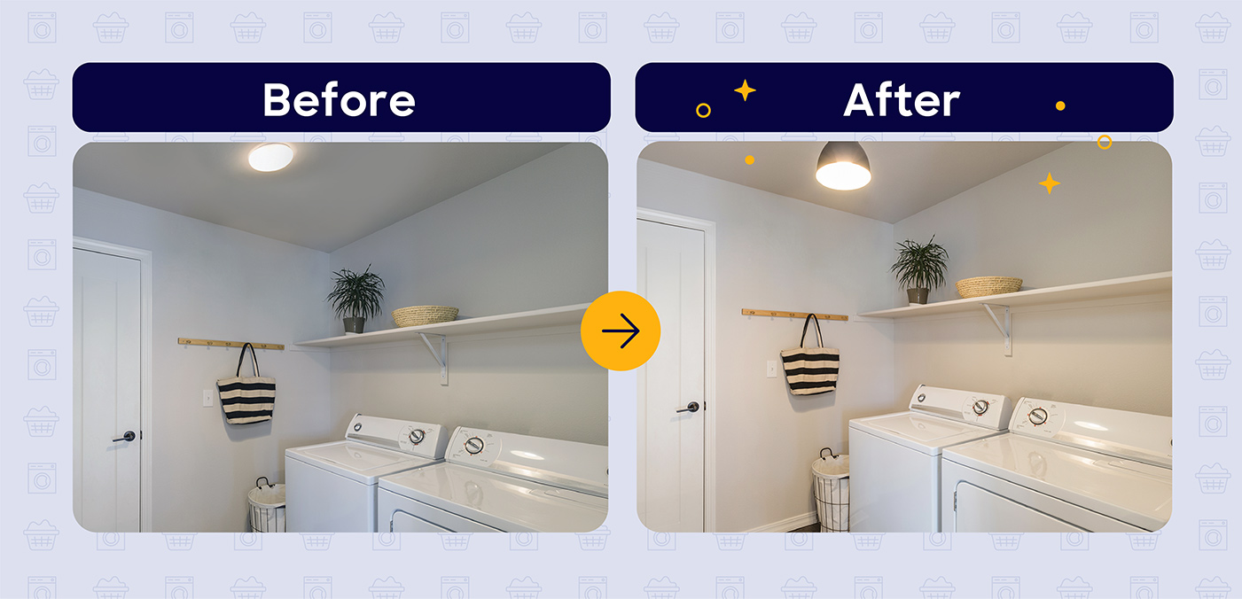 laundry room lighting before and after