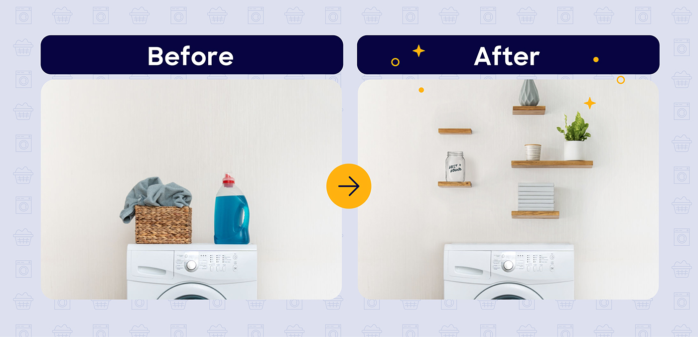 laundry room shelves before and after