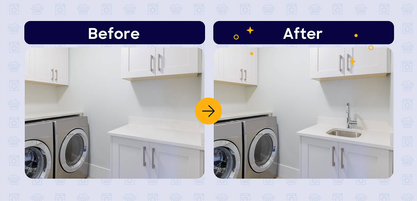 laundry room sink before and after