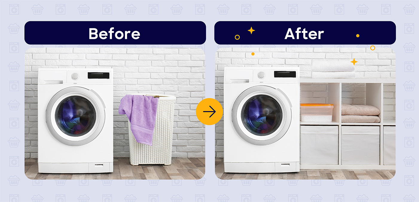 laundry room storage before and after
