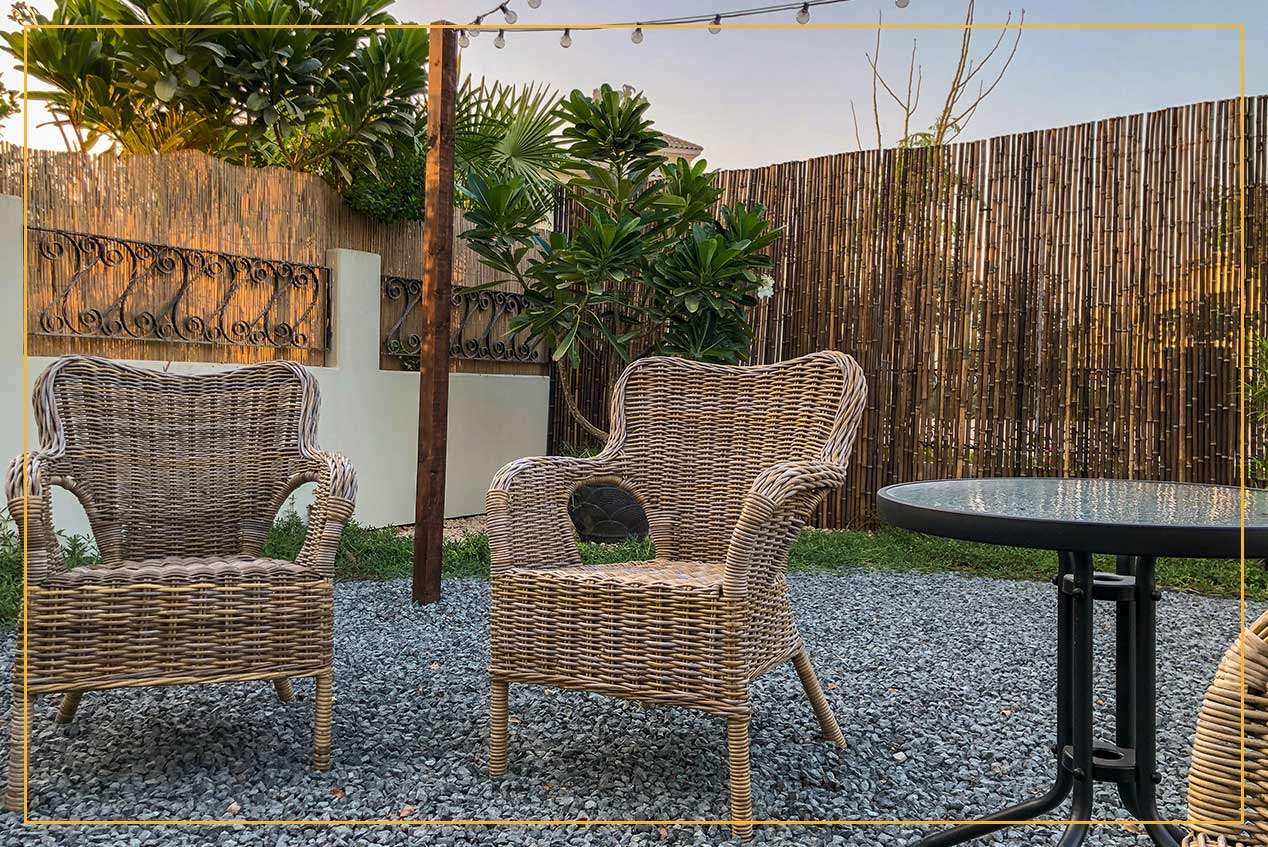 patio area with bamboo wall