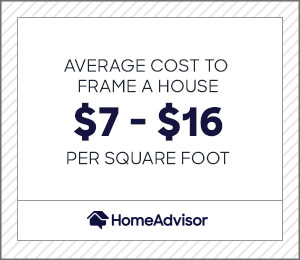 the average carpentry framing cost is $7 to $16 per square foot