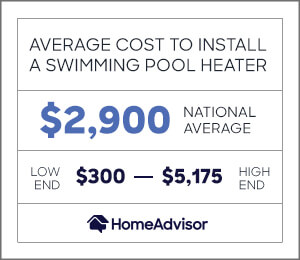 the average cost to install a swimming pool heater is $2,900 or $300 to $5,175.