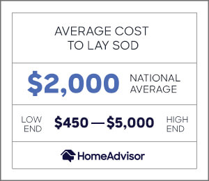 the average cost to lay sod is $2.000 or $450 to $5,000.