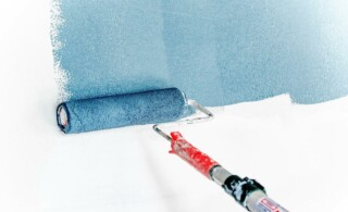 roller with blue paint