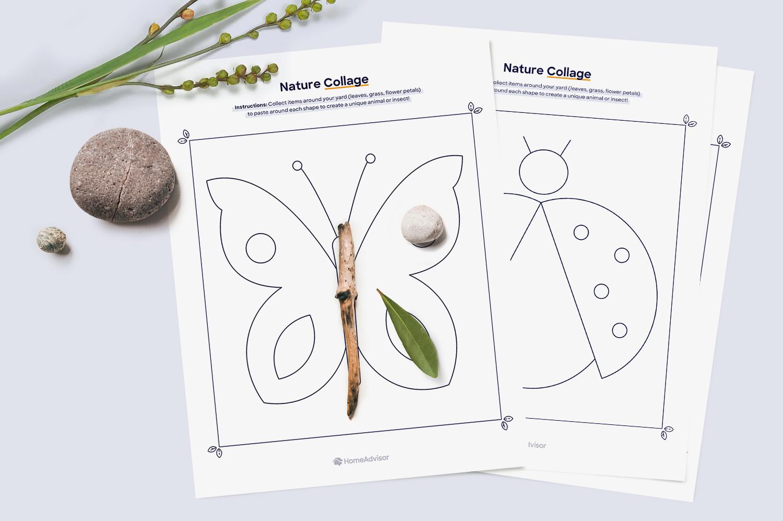 nature collage printable mockup
