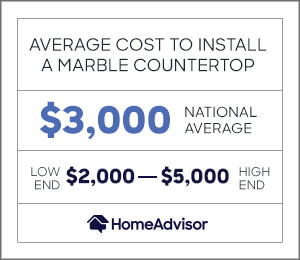 the average cost to install marble countertops is $3,000 or $2,000 to $5,000