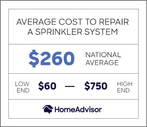 the average cost to repair a sprinkler system is $260 or $60 to $750.